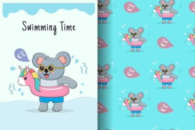 Cute koala with pink unicorn rubber seamless pattern and card