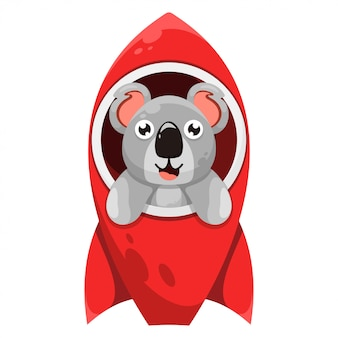Cute koala with rocket cartoon