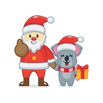 Cute koala with santa claus cute christmas cartoon illustration
