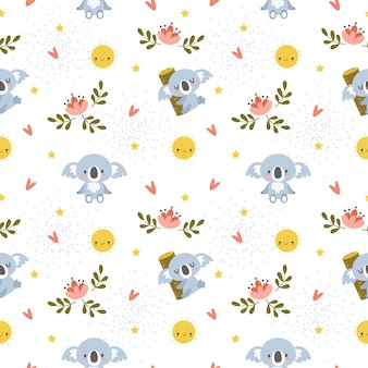 Cute koala with the sun and flower seamless pattern
