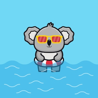 Cute koala with swim ring cartoon   illustration animal summer concept