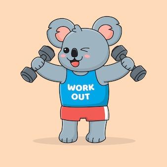 Cute koala work out holding dumbbell