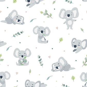 Cute koalas seamless pattern design