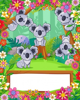 Cute koalas with flowers and wood blank sign in the forest. vector