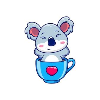 Cute kola with cup of coffee cartoon
