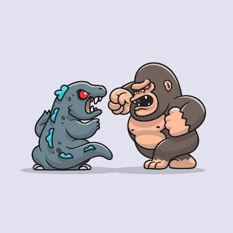 Cute kong fight godzilla cartoon icon illustration.