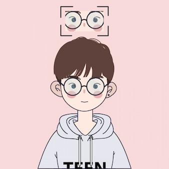 Cute korean boy illustration. handsome asian boy illustration.