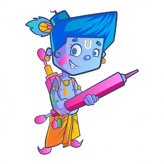 Cute krishna with water gun illustration