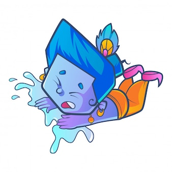 Cute krishna with water illustration