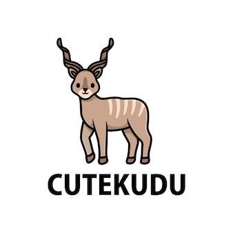 Cute kudu cartoon logo  icon illustration