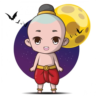Cute kuman thong cartoon., kuman thong is a household divinity of thai folk religion
