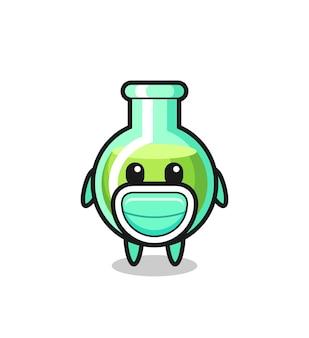 Cute lab beakers cartoon wearing a mask , cute style design for t shirt, sticker, logo element