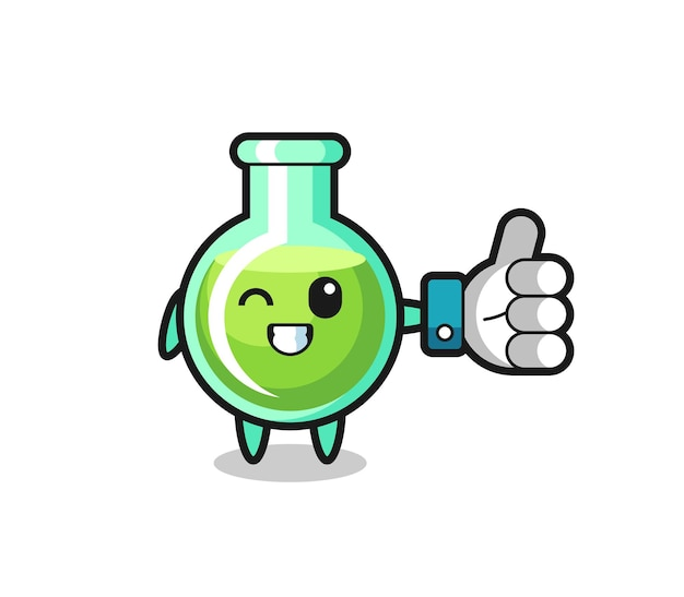 Cute lab beakers with social media thumbs up symbol , cute style design for t shirt, sticker, logo element