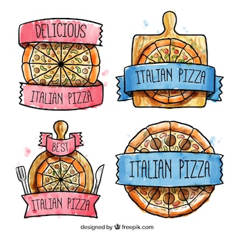 Cute labels for pizza hand painted