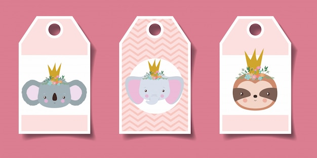 Cute labels with animals cartoons