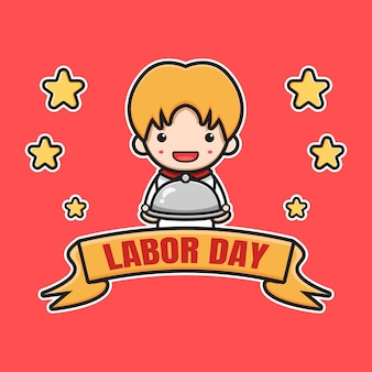 Cute labor day poster celebration cartoon icon illustration. design isolated flat cartoon style