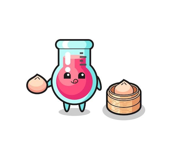 찐빵을 먹는 귀여운 실험실 비커 캐릭터, 티셔츠, 스티커, 로고 요소를 위한 귀여운 스타일 디자인