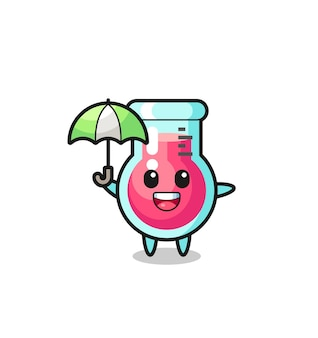 Симпатичная иллюстрация лабораторного стакана с зонтиком, милый стильный дизайн для футболки, стикер, элемент логотипа