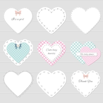 Cute lacy textile hearts set.