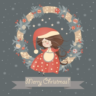 Cute lady christmas in wreath