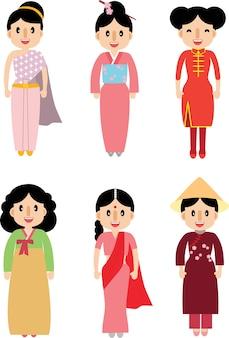 アジアの伝統的なドレスでかわいい女性