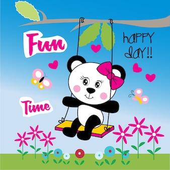 かわいい女性パンダのクマのベクトル漫画