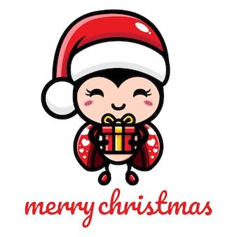 크리스마스를 축하하는 귀여운 무당벌레