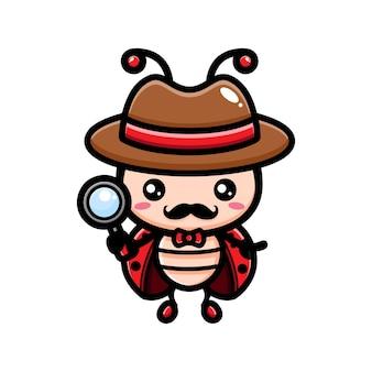 Милый божья коровка детектив дизайн персонажей