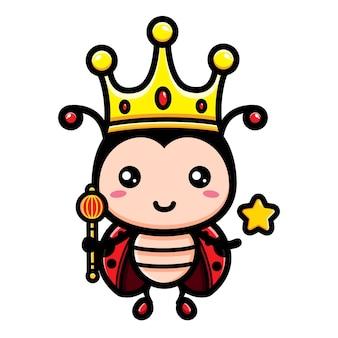 귀여운 무당 벌레 왕 캐릭터 디자인