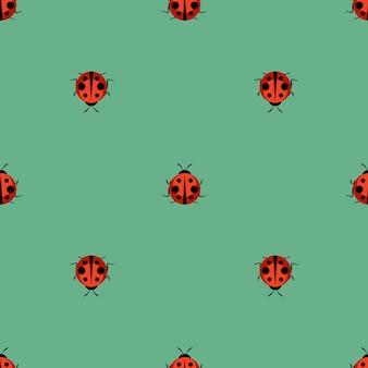 Cute ladybug seamless pattern background