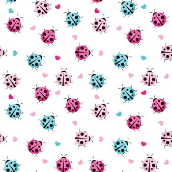 Cute ladybug seamless pattern for wallpaper
