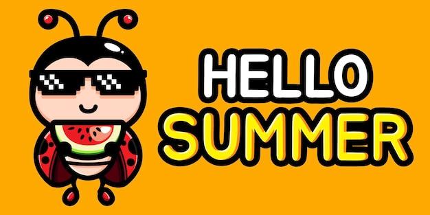 여름 인사말 배너와 함께 귀여운 무당 벌레