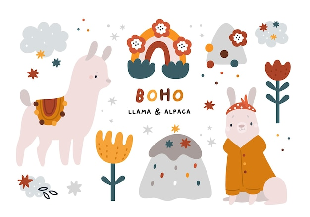 Cute lama and alpaca baby animals clipart