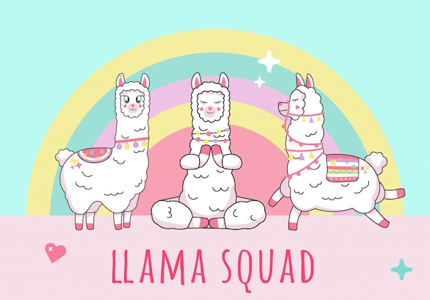 Cute  lama alpaca inscription cute squad on unicorn squad