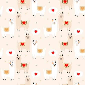 Cute lama lover seamless pattern