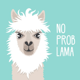 Cute lama on a mint background. llama face. text no prob lama. good for greeting cards.