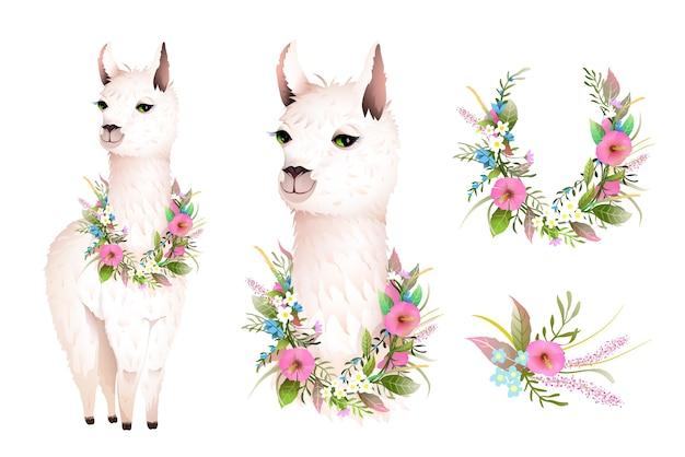 野生の花とかわいいラマのリアルなベクターキャラクターデザイン。芸術的な植物の自由奔放な動物のデザイン、手描きのラマイラストクリップアート、水彩風のベクトルデザイン。