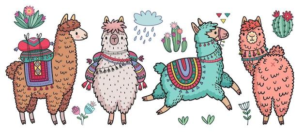Симпатичные ламы стоя и бегут