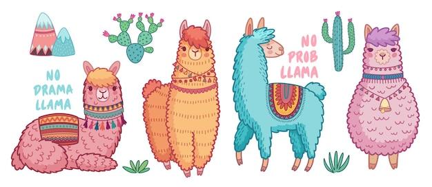 Симпатичные ламы с забавными цитатами смешные рисованные персонажи иллюстрации