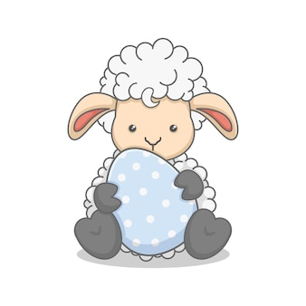 Cute lamb holding an easter egg isolated on white