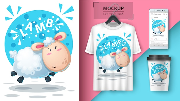 Симпатичная иллюстрация ягненка для футболки, чашки и обоев смартфона
