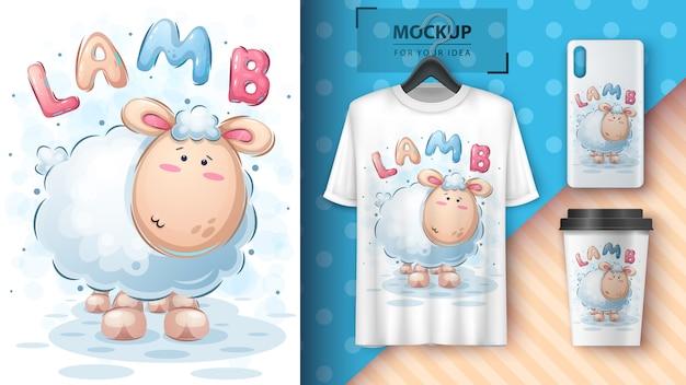 かわいい子羊のポスターとマーチャンダイジング