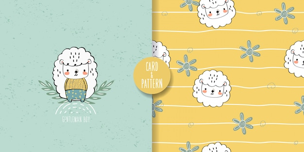 かわいい子羊のシームレスなパターンとイラスト