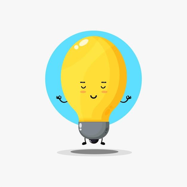 ヨガのポーズで瞑想するかわいいランプのキャラクター