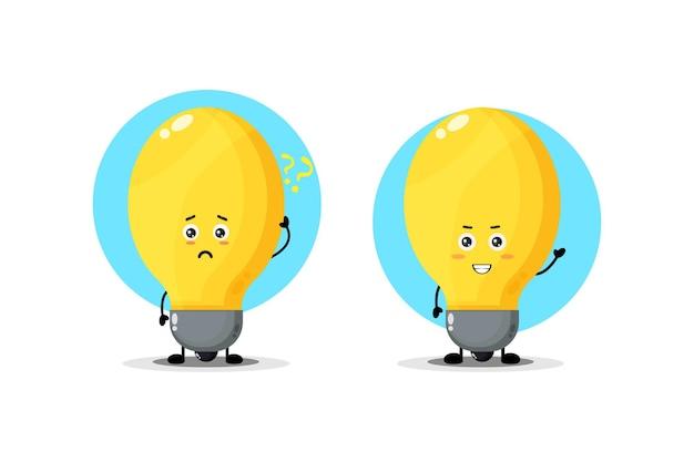 Симпатичный персонаж лампы с растерянным и счастливым выражением лица
