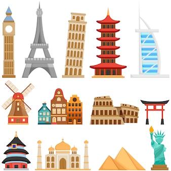 전 세계의 귀여운 랜드 마크와 건물