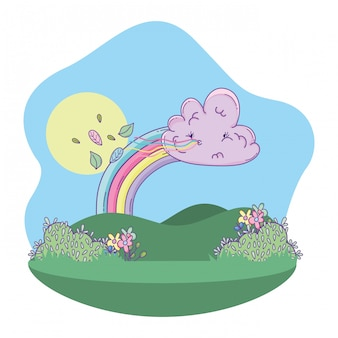Cute landscape cartoon