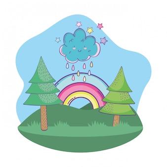 Милый пейзажный мультфильм