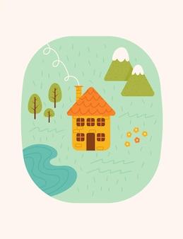 家、山、湖、木々のあるかわいい風景。グリーティングカード、ポスター、バナーの春と夏の背景。 nature.vectorイラスト。