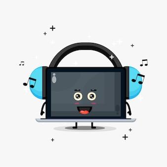 Cute laptop mascot listening to music